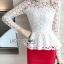 เสื้อผ้าเกาหลี พร้อมส่งเสื้อผ้าลูกไม้สีขาวทรงคอสูงแขนยาวตกแต่งระบาย thumbnail 11
