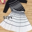 Two Pieces Of Stripes Sweater With Skirt Sets thumbnail 6