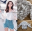 เสื้อผ้าเกาหลีพร้อมส่ง บอมเบอร์แจ็คเก็ตผ้าลูกไม้ลายดอกไม้ thumbnail 11