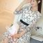 ชุดเดรสเกาหลี พร้อมส่งเดรสผ้าชีฟองสีขาวปักลายดอกไม้สีดำ thumbnail 5