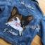 เสื้อผ้าเกาหลี พร้อมส่งแจ๊กเก็ตผ้าเดนิมปักลายแมว thumbnail 14