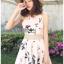 ชุดเดรสเกาหลีพร้อมส่ง มินิเดรสสายเดี่ยวผ้าเครปสีชมพูพิมพ์ลายดอกไม้ thumbnail 1