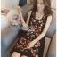 ชุดเดรสเกาหลีพร้อมส่ง เดรสแขนกุดผ้าคอตตอนสีดำปักลายดอกไม้ส thumbnail 3
