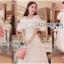 ชุดเดรสเกาหลี พร้อมส่งเดรสยาวเปิดไหล่ผ้าคอตตอนผสมซิลค์สีขาวประดับลูกไม้ thumbnail 3