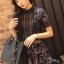 ชุดเดรสเกาหลี พร้อมส่งlong dress ฉลุสีกรม แขนสั้นซับในเย็บติดสีเนื้อช่วงอกยาวเหนือหัวเข่า thumbnail 3