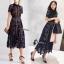 ชุดเดรสเกาหลี พร้อมส่งlong dress ฉลุสีกรม แขนสั้นซับในเย็บติดสีเนื้อช่วงอกยาวเหนือหัวเข่า thumbnail 6