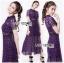 ชุดเดรสเกาหลี พร้อมส่งSelf-Portrait Scallop Edged Midi Dress in Burgundy thumbnail 3