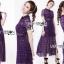 ชุดเดรสเกาหลี พร้อมส่งSelf-Portrait Scallop Edged Midi Dress in Burgundy thumbnail 4
