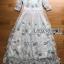 ชุดเดรสเกาหลี พร้อมส่งเดรสยาวผ้าทูลเลปักผีเสื้อสีฟ้า3D สไตล์เจ้าหญิง thumbnail 14