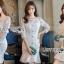 ชุดเดรสเกาหลี พร้อมส่งเดรสผ้าลูกไม้สีขาวสไตล์วินเทจ ลุคนี้เป็นสาวเฟมินีน thumbnail 7