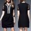 ชุดเดรสเกาหลี พร้อมส่งCC Stylish Cream & Black Dress thumbnail 3