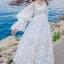 ชุเดรสเกาหลี พร้อมส่งBeach Angel Luxury White Lace Dress thumbnail 3