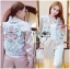 Sabina Street Style Chic Flower Embroidered Pink Satin Bomber Jacket thumbnail 2