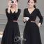 ชุดเดรสเกาหลี พร้อมส่งเดรสสีดำแขนยาวกระโปรงทรงเอ thumbnail 3