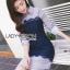 เสื้อผ้าเกาหลี พร้อมส่งเชิ้ตเดรสผ้าป็อบลินคอตตอนลายทางตกแต่งลูกไม้สีน้ำเงิน thumbnail 4