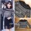 เสื้อผ้าเกาหลีพร้อมส่ง เสื้อแขนยาวผ้าลูกไม้สีขาว-ดำพร้อมเกาะอกสีนู้ด thumbnail 7