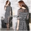 ชุดเดรสเกาหลี พร้อมส่งเดรสยาวผ้าชีฟองพิมพ์ลายตารางสีขาว-ดำ thumbnail 5