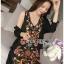 ชุดเดรสเกาหลีพร้อมส่ง เดรสแขนกุดผ้าคอตตอนสีดำปักลายดอกไม้ส thumbnail 5