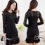 ชุดเดรสเกาหลี พร้อมส่ง minu dress งานลูกไม้สีดำลูกไม้นิ่มไม่คันค่ thumbnail 2
