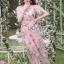 ชุดเดรสเกาหลี พร้อมส่งเดรสผ้าทูลเลปักดอกไม้กุหลาบสีชมพูทับลูกไม้สีชมพู thumbnail 1