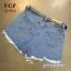 เสื้อผ้าแฟชั่น พร้อมส่งกางเกงยีนส์ขาสั้น ผ้ายีนส์ฟอก thumbnail 5