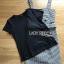 เสื้อผ้าเกาหลีพร้อมส่ง เซ็ตเสื้อยืดสีดำทับด้วยเดรสลายตารางต thumbnail 11