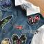 เสื้อผ้าเกาหลี พร้อมส่งเชิ้ตเดรสผ้าคอตตอนตกแต่งเดนิมปักลายผีเสื้อ thumbnail 9