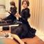 ชุดเดรสเกาหลี พร้อมส่งMini dress ลูกไม้แขนยาวสีดำ thumbnail 3