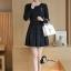 ชุดเดรสเกาหลี พร้อมส่ง Mini dress ทางเรียบร้อยสีดำ ดูดีมาก thumbnail 2