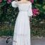 ชุดเดรสเกาหลี พร้อมส่งlong dress สีขาว ผ้า cotton ทรงยางยืดปาดไหล่ thumbnail 4