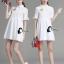 เสื้อผ้าเกาหลี พร้อมส่งเดรสเชิ๊ตคอปก ผ่ากระดุมหน้าครึ่งตัว thumbnail 4
