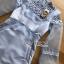 ชุดเดรสเกาหลี พร้อมส่งเดรสผ้าซิลค์ตกแต่งออร์แกนซ่าและลูกไม้สีฟ้าอ่อน thumbnail 12