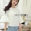 เสื้อผ้าเกาหลี พร้อมส่งเสื้อผ้าคอตตอนทับด้วยผ้าตาข่ายปักดอกไม้สีขาว thumbnail 3