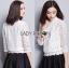 เสื้อผ้าเกาหลี พร้อมส่งเสื้อลูกไม้สีขาวผ้านิ่มใส่สบาย thumbnail 7
