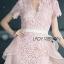 ชุดเดรสเกาหลี พร้อมส่งเดรสผ้าลูกไม้สีชมพูอ่อนตกแต่งระบายผ้าออร์แกนซ่า thumbnail 6