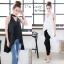 เสื้อผ้าแฟชั่นเกาหลีพร้อมส่ง เสื้อตัวยาวแขนกุด ผ้าZara เงาสวย thumbnail 8