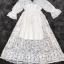 ชุเดรสเกาหลี พร้อมส่งBeach Angel Luxury White Lace Dress thumbnail 12