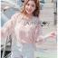 เสื้อผ้าเกาหลีพร้อมส่ง บอมเบอร์แจ็คเก็ตผ้าลูกไม้ลายดอกไม้ thumbnail 6