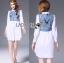เสื้อผ้าเกาหลี พร้อมส่งเชิ้ตเดรสผ้าคอตตอนตกแต่งเดนิมปักลายผีเสื้อ thumbnail 6