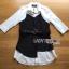 เสื้อผ้าเกาหลี พร้อมส่งเชิ้ตเดรสผ้าคอตตอนสีขาวทับด้วยสายเดี่ยวสีดำลายทาง thumbnail 7