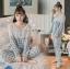 เสื้อผ้าเกาหลี พร้อมส่งเซ็ตชุดนอนผ้าคอตตอนลายตารางสีพาสเทล thumbnail 8