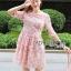 ชุดเดรสเกาหลี พร้อมส่งDress ค็อกเทลเดรสผ้าชีฟองสีชมพูปักดอกไม้ thumbnail 4
