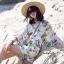 เสื้อผ้าเกาหลีพร้อมส่ง จั๊มสูท ทรงสวย คอวี แขนยาว พิมพ์ลายดอกไม้ thumbnail 3