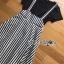 เสื้อผ้าเกาหลี พร้อมส่งเซ็ตเสื้อยืดแขนสั้นสีดำพร้อมเอี๊ยมกระโปรงยาวลายทาง thumbnail 11