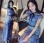 ชุดเดรสเกาหลี พร้อมส่งเดรสผ้าลูกไม้สีฟ้าตกแต่งโบสไตล์ Self-Portrait thumbnail 7