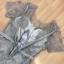 ชุดเดรสเกาหลี พร้อมส่งSilver Grey 3D Embroidered Flowers thumbnail 15