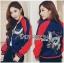 เสื้อผ้าเกาหลี พร้อมส่งบอมเบอร์แจ๊คเก็ตผ้าซาตินปักลายสีสดใส thumbnail 6