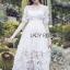 ชุดเดรสเกาหลี พร้อมส่งเดรสผ้าลูกไม้สีขาวปักลายผีเสื้อ thumbnail 8
