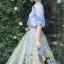 เสื้อผ้าเกาหลี พร้อมส่งAzura Skyblue Shirt + Embroidered Luxury Skirt thumbnail 13