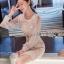 ชุดเดรสเกาหลี พร้อมส่งเดรสผ้าลูกไม้สีขาวซับในสีนู้ดตกแต่งแขนชิฟฟอน thumbnail 1